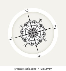 Graphic wind rose compass drawn with floral elements. Nautical vector illustration can be used for coloring book page design, tattoo template, business style, print on clothes or else.