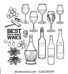 Graphic wine collection. Vector glasses, bottles and other delicious food isolated on white background