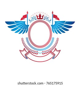 Graphic winged emblem made with imperial Crown, elegant ribbon and flags. Heraldic Coat of Arms, vintage vector logo.