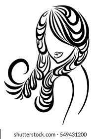 Graphic woman with beautiful hair. Vector illustration