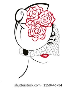 Graphic woman head wearing a net hat covering one eye.Red flowers are on the top.Black and red paintbrush strokes style apart red lips.The net is separated, can be used without. No background. vector