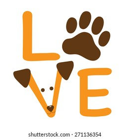 A graphic of the word love showing a dog paw and a dogs face