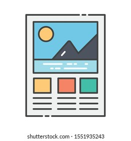 Graphical analysis, mountain graph icon in flat design