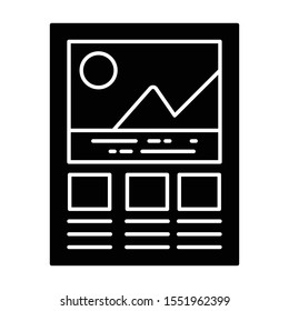 Graphical analysis, mountain graph icon in glyph design