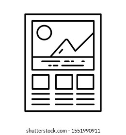 Graphical analysis, mountain graph icon in line design