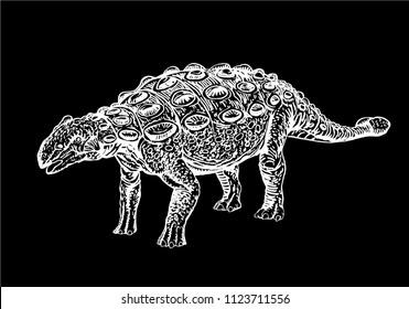 graphical ankylosaurus isolated on black background,vector dinosaur,tattoo
