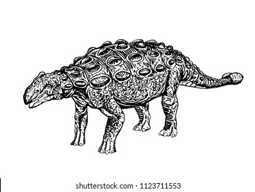 graphical ankylosaurus isolated on white background,vector dinosaur,tattoo