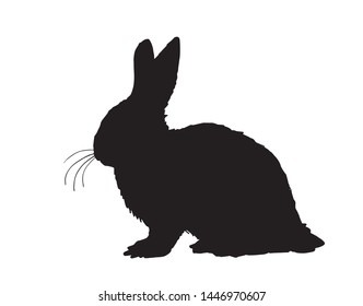 Graphical bunny silhouette isolated on white background,vector illustration for logo,tattoo icons and printing