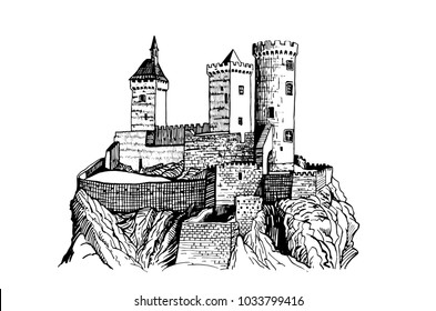 Graphical Castle of Foix on white background   ,France,medieval sketch of castle