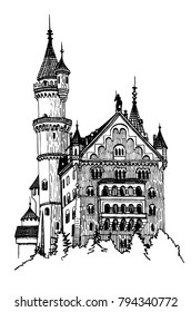 Graphical castle isolated on white background, germany medieval castle.Neuschwanstein Castle