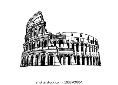 Graphical coliseum isolated on white background,vector sketchy illustration,Rome ,Italy