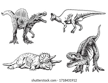 Graphical collection of dinosaurs isolated on white background, vector illustration