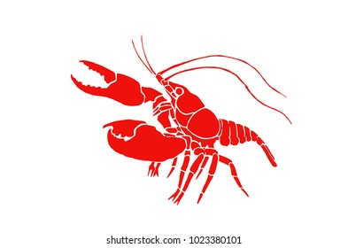Graphical color crab isolated on white background,vector illustration