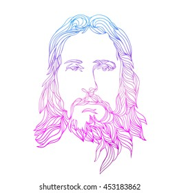 graphical color face of Jesus. Hand drawn art.