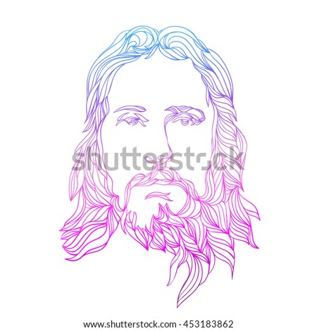 Graphical Color Face Jesus Hand Drawn Stock Vector (Royalty Free ...