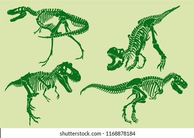 Graphical color set of dinosaurs skeletons , pop art  background,vector sketch for typography
