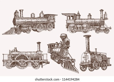 Graphical color set of trains isolated,vector medieval locomotives,retro sketch
