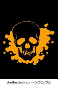 Graphical color skull icon on black background.Emblem