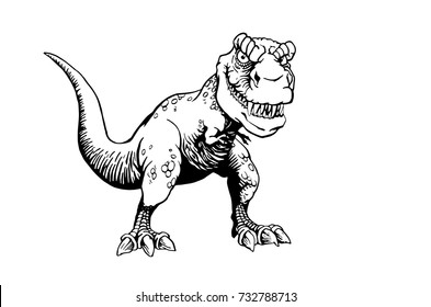 Graphical cute dinosaur isolated on white background .Vector illustration