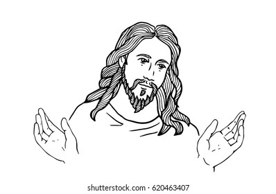 graphical face of Jesus .Face of Jesus. open hands