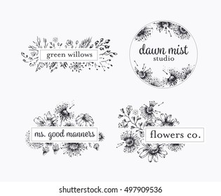 Graphical floral labels with hand drawn flowers and leafs, botanical logo vector package.