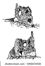 Graphical hand-drawn set of Crimean castles isolated on white background, architecture