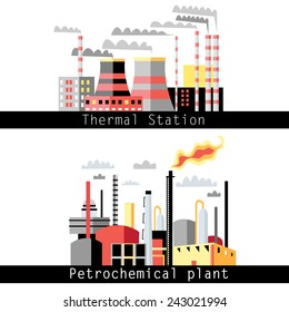 graphical illustration of a petrochemical plant and thermal power plant