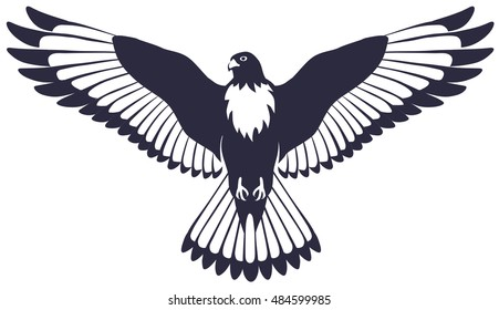 graphical illustration of a soaring bird of a Falcon with spread wings