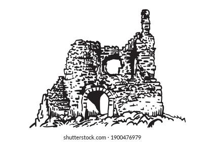 Graphical kalamite fortress isolated on white, Inkerman,Crimea
