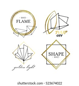 Graphical labels with geometrical scratched shapes, black and golden logo vector package.