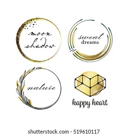 Graphical labels with hand drawn scratched circles and leafs, black and golden logo vector package.