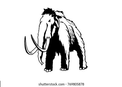 Graphical mammoth isolated on white background,vector illustration