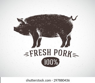 Graphical pig, hand drawing illustration.