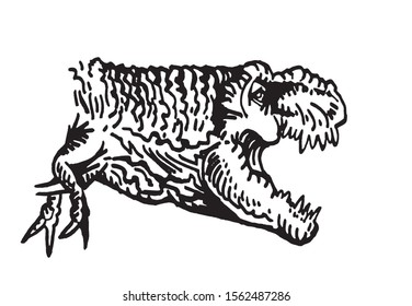 Graphical raptor isolated on white background,vector illustration  for tattoo and printing