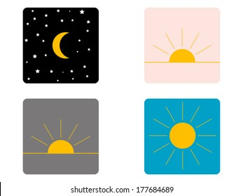 Graphical representation of the day: night, morning, afternoon and evening