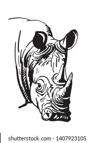 Graphical rhino isolated on white,vector doodle illustration,tattoo and coloring book design