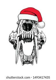 Graphical  saber-toothed tiger skull in Santa Claus hat ,vector new year illustration