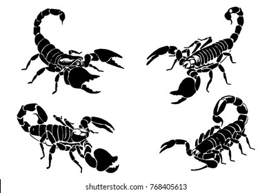 Graphical scorpions isolated on white background,vector illustration for tattoo and printing
