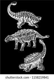 Graphical set of  ankylosaurus  isolated on black background,vector sketchy illustration