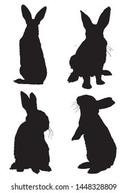 Graphical set of bunny silhouettes isolated on white background,vector illustration