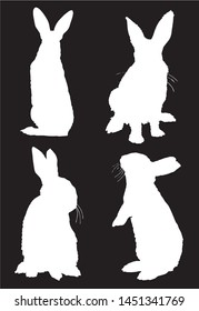 Graphical set of bunny silhouettes isolated on black background,vector illustration
