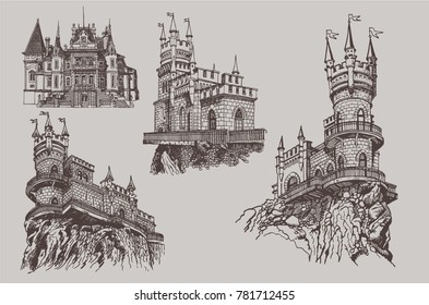 Graphical set of castles in Crimea. Vector iilustration  of swallovs nest and Vorontsov Palace