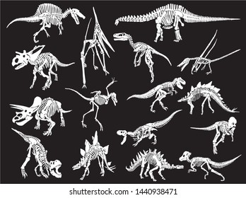 Graphical set of dinosaur skeletons isolated on black background,vector sketch for tattoo and printing