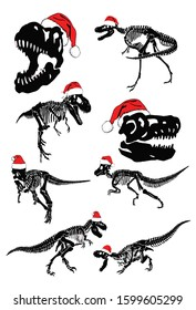 Graphical set of dinosaur skeletons in Santa Claus hats isolated on white background,vector new year illustration