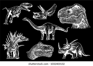 Graphical set of dinosaurs isolated on black background,vector