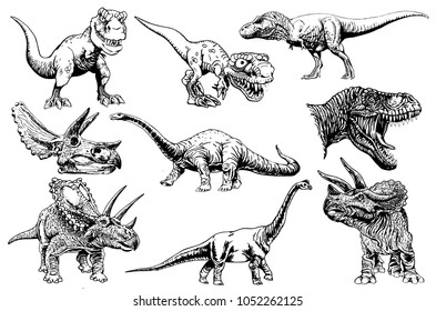 Graphical set of dinosaurs isolated on white background,vector illustration for tattoo and printing