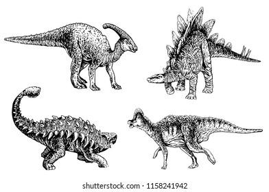 Graphical set of dinosaurs isolated on white,vector ankylosaurus,stegosaurus,parazaurolophus,koritozaurus