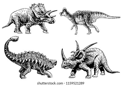 Graphical set of dinosaurs isolated on white background,vector sketch for tattoo and printing
