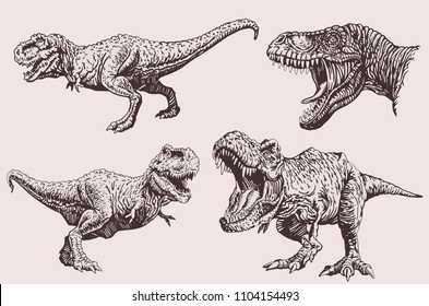 Graphical set of dinosaurs ,vintage illustration,sepia