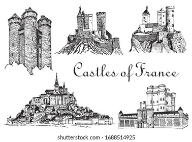 Graphical set of France castles isolated on white background,vector illustration